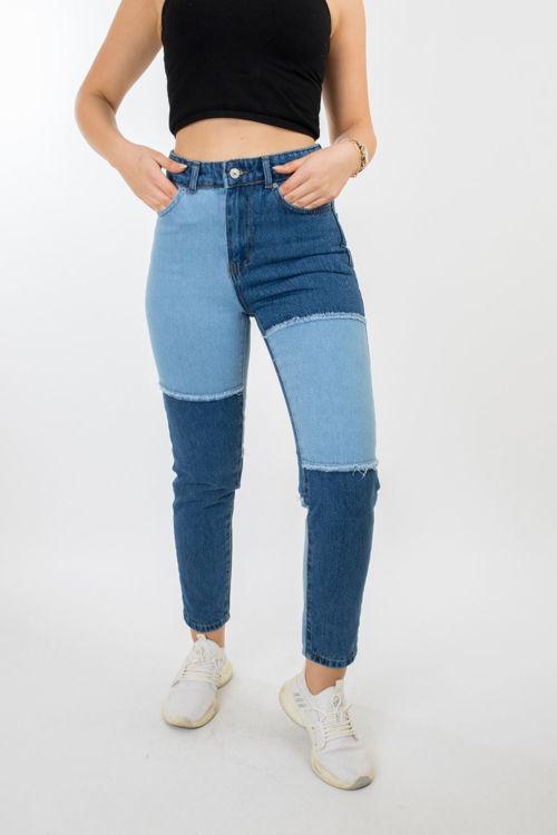 1138 Çift Renkli Kot Pantolon resmi
