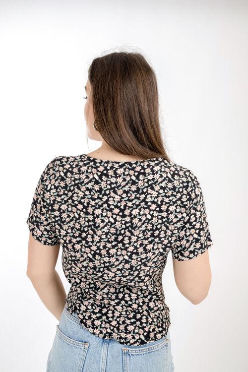 S0006242 Önden Büzgülü Çiçek Desenli Bluz resmi