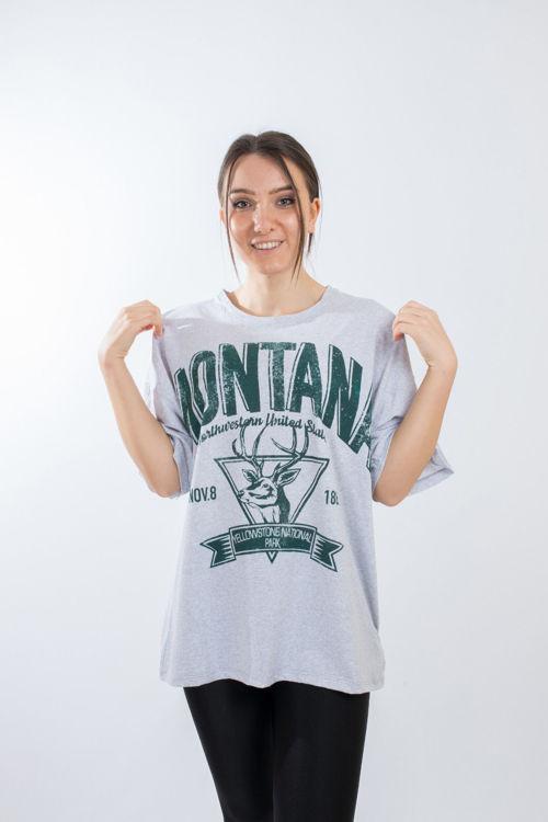 035 Montana Baskılı Oversize Tshirt resmi
