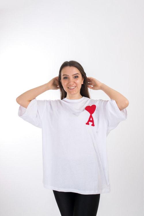 S0007288 Kalp İşlemeli Oversize Tshirt resmi
