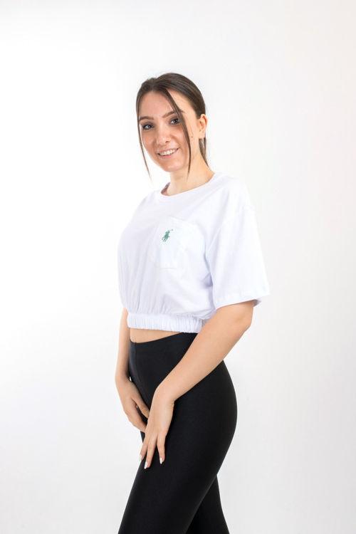 SL0000083 Beli Lastikli Cep Detay Tshirt resmi
