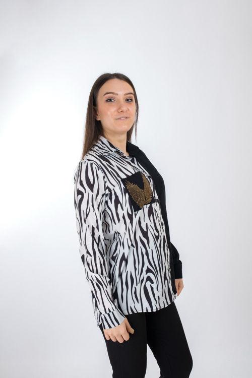 225043 Zebra Desen Cepli Gömlek resmi