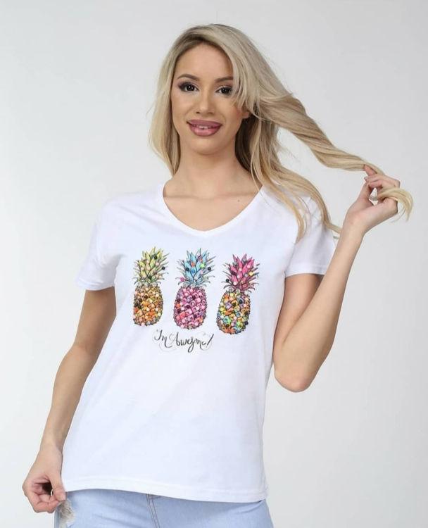 1487 Ananas İşlemeli Tshirt resmi