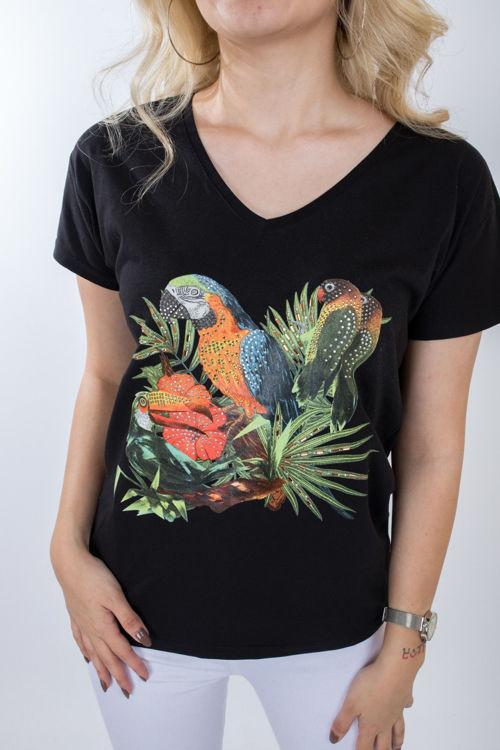 1004 Papağan Taş İşlemeli Tshirt resmi
