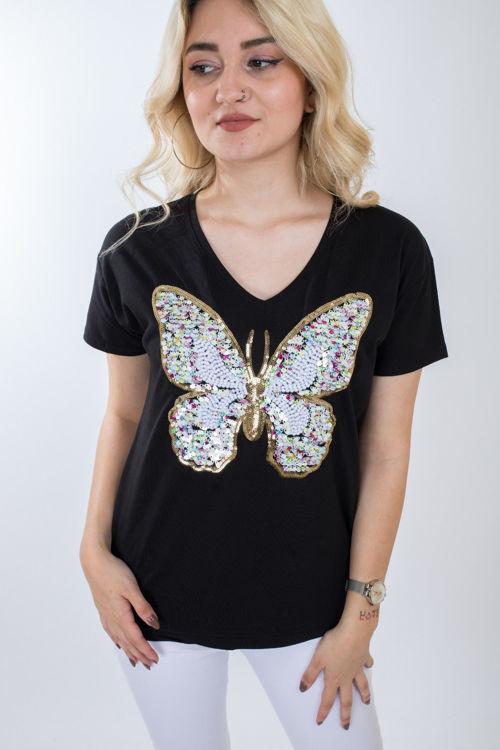 1008 Kelebek Payet İşlemeli Tshirt resmi