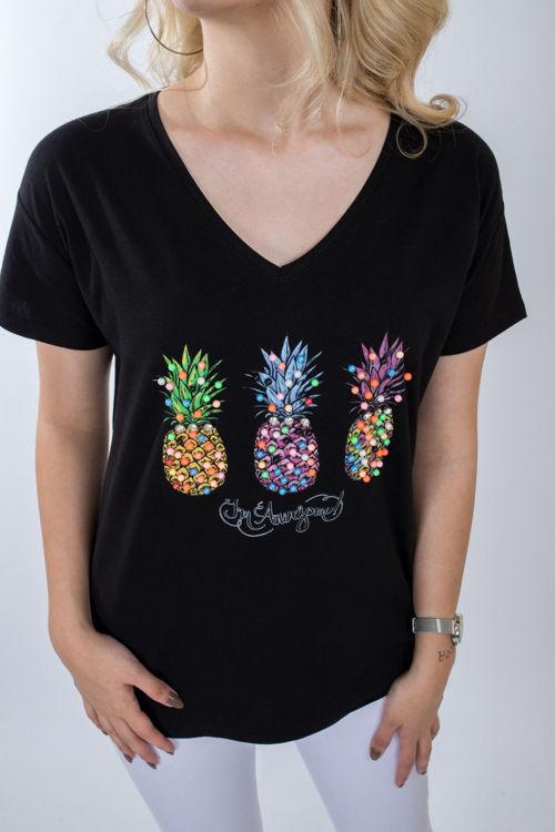 1012 Ananas Taş İşlemeli Tshirt resmi