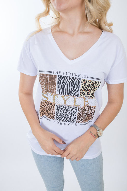 1021 Taş İşlemeli V Yaka Tshirt resmi
