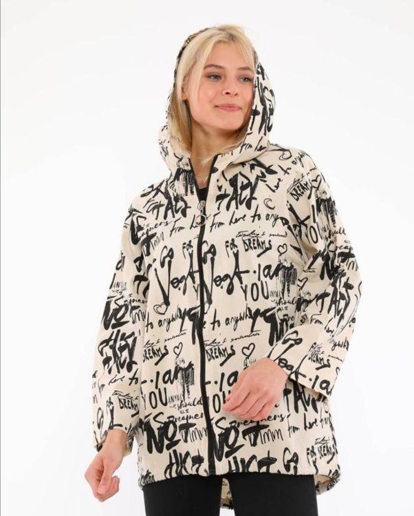 698 Kapüşonlu Desenli Ceket resmi