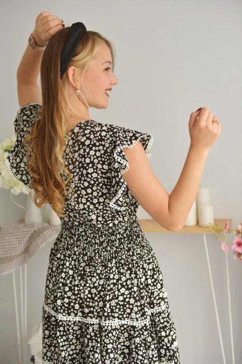 2222 Çiçek Desenli Kolları Volan Elbise resmi