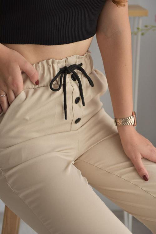 1001 Düğme Detay Kumaş Havuç Pantolon resmi