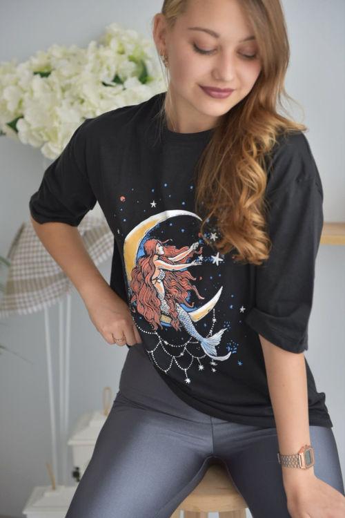 6001 Ay Baskılı Oversize Tshirt resmi