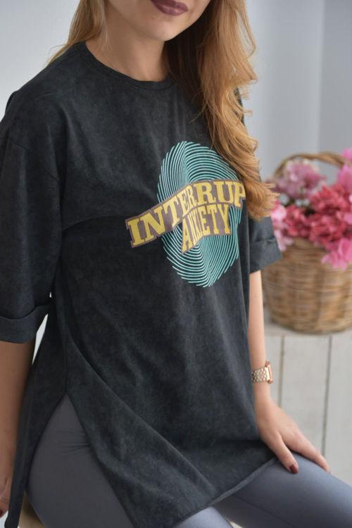 2614 Yanları Yırtmaçlı Baskılı Tshirt resmi