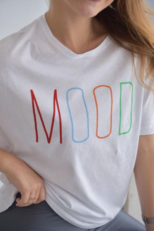 6001 Mood Baskılı Oversize Tshirt resmi