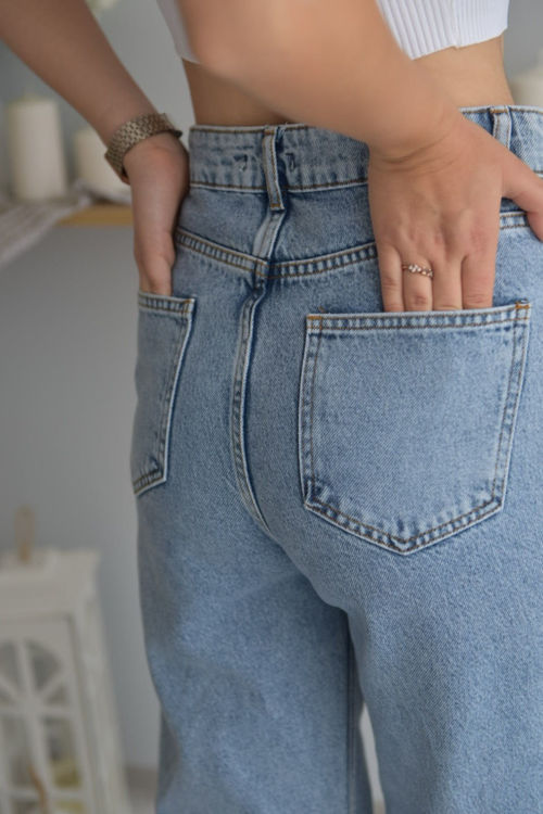 257 Yırtık Bol Paça Kot Pantolon resmi