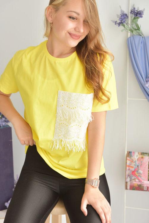 024 Cep Dantel Detay Tshirt resmi