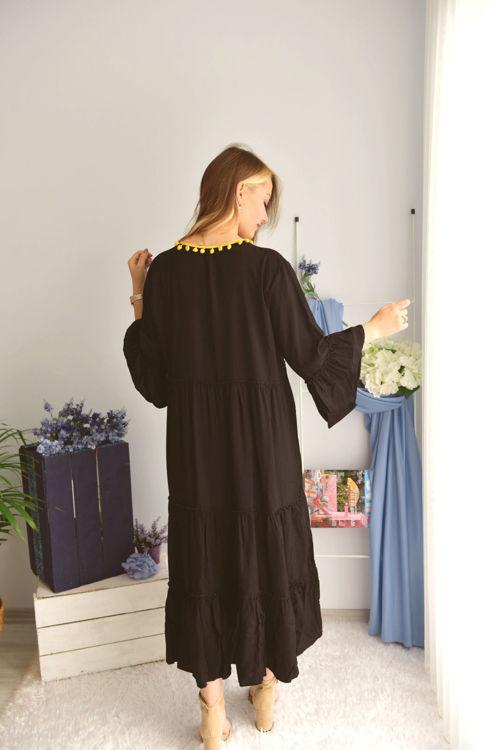 2092 Ponpon Detaylı Elbise resmi