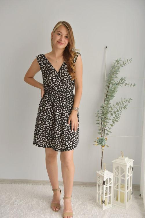 Kruvaze Yaka Desenli Elbise 21206 resmi