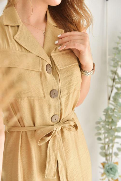 Düğme ve Kemer Detay Elbise 21-5624 resmi