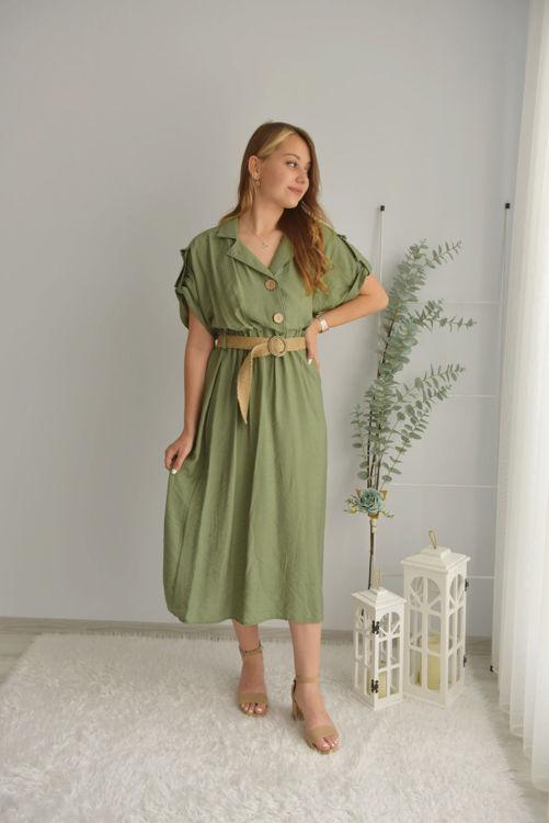 Düğme ve Kemer Detay Elbise 21-5597 resmi
