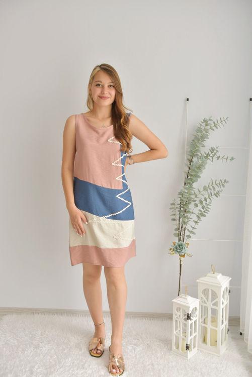 Zik Zak Desenli Elbise 21-5550 resmi