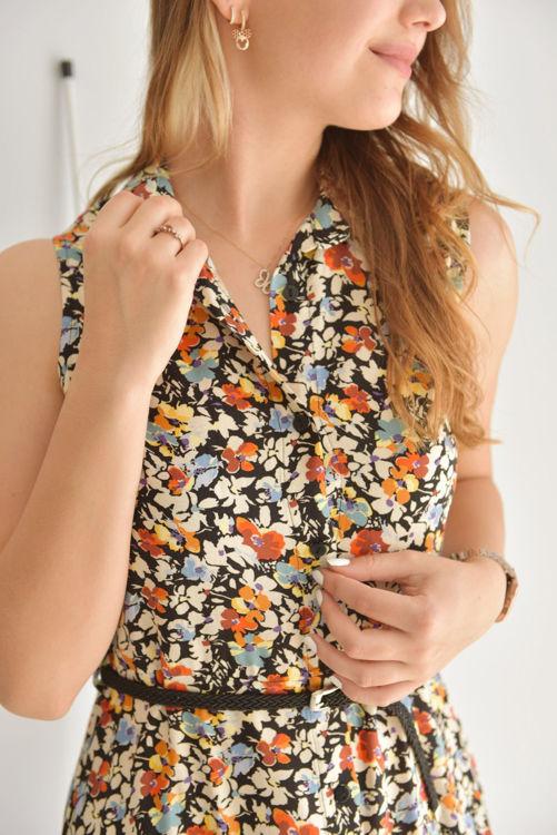Gömlek Yaka Çiçek Desenli Elbise 0974 resmi