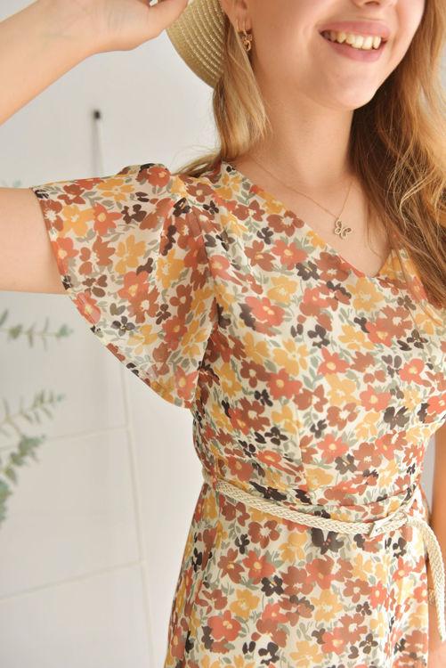 Çiçek Desenli Şifon Elbise 7018 resmi