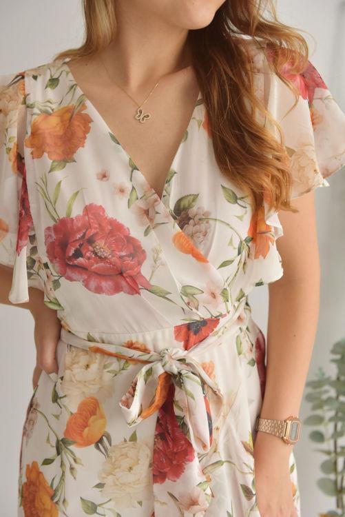Kruvaze Yaka Volanlı Elbise 21-5531-1 resmi