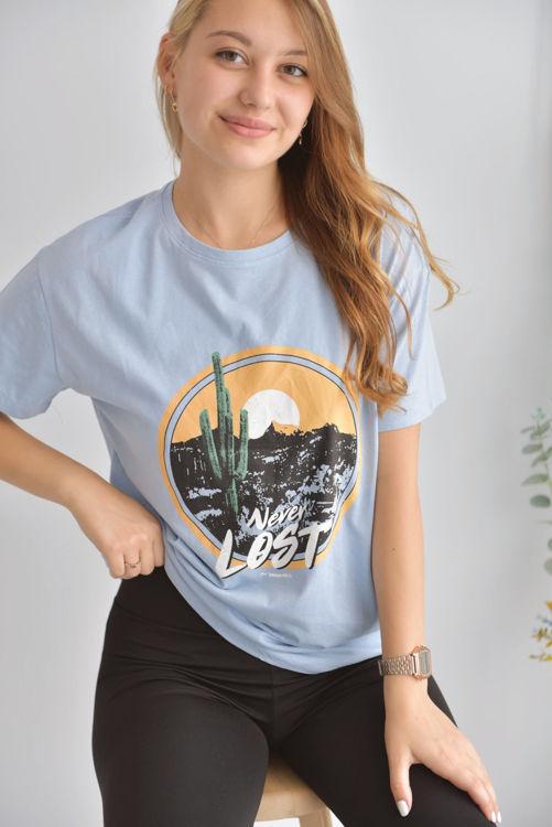 6001 Kaktüs Baskılı Tshirt resmi