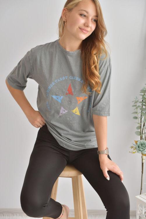 6001 Yıldız Baskılı Yıkamalı Tshirt resmi