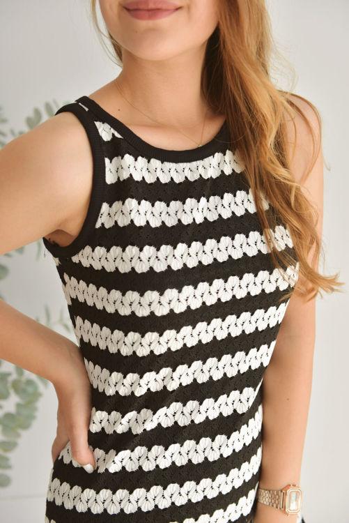 Siyah Beyaz Çizgili Elbise 26106 resmi