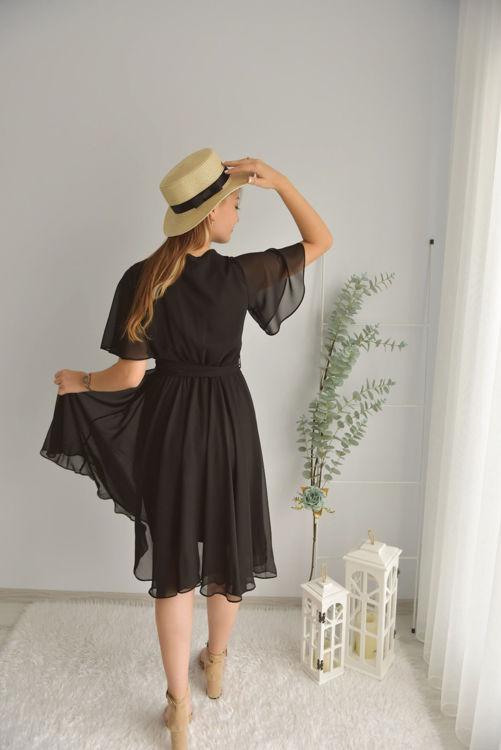 Kruvaze Yaka Şifon Elbise 21-5414 resmi