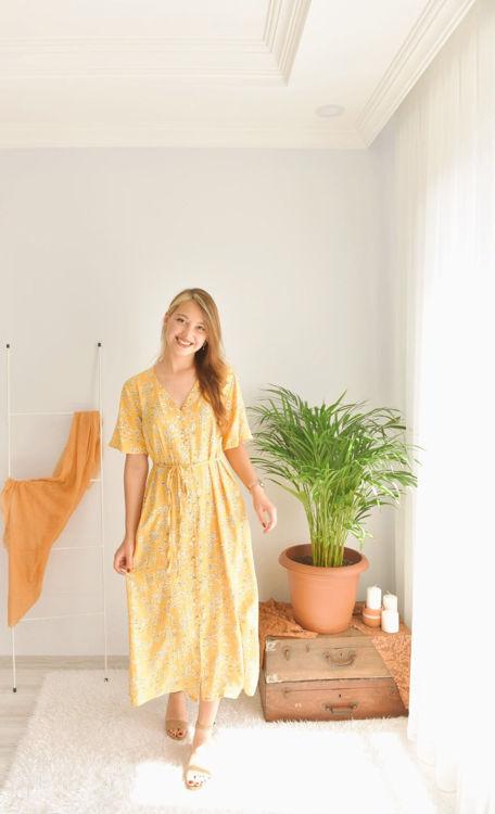 Çiçek Desenli Uzun Elbise S0008714 resmi