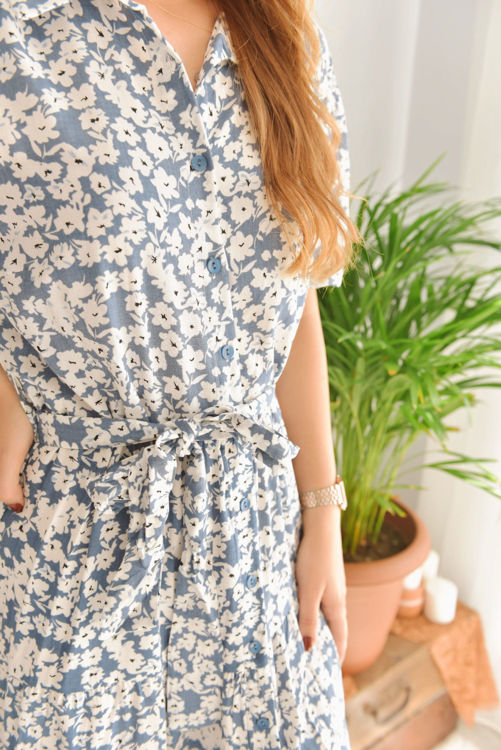 Gömlek Yaka Çiçek Desenli Elbise S0008741 resmi