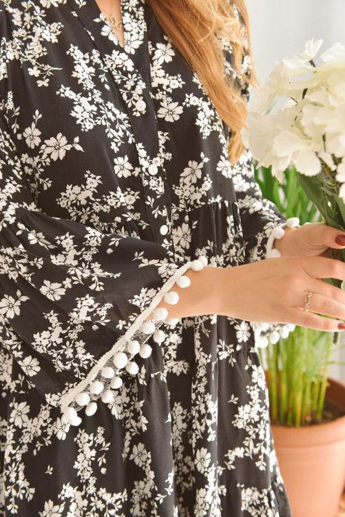 Kol ve Etek Ucu Ponpon Detay Salaş Elbise 2053 resmi