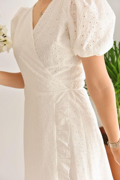 5379-1422 Kruvaze Yaka Bağlamalı Fistolu Elbise resmi