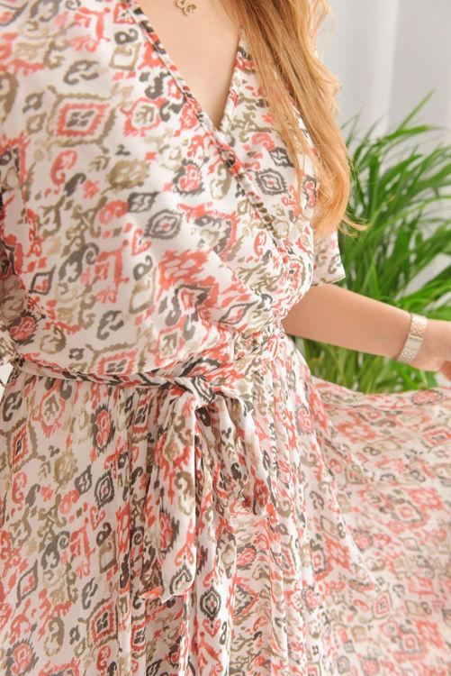 21-5414 Kruvaze Yaka Şifon Elbise resmi