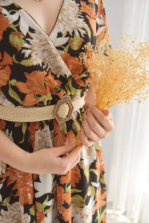 7052 Çiçek Desenli Şifon Elbise resmi