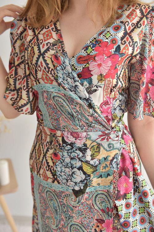 5382-1432 Kruvaze Yaka Desenli Elbise resmi
