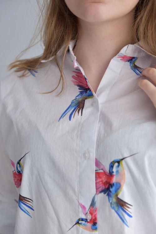 21-11290 Desenli Uzun Kol Gömlek resmi