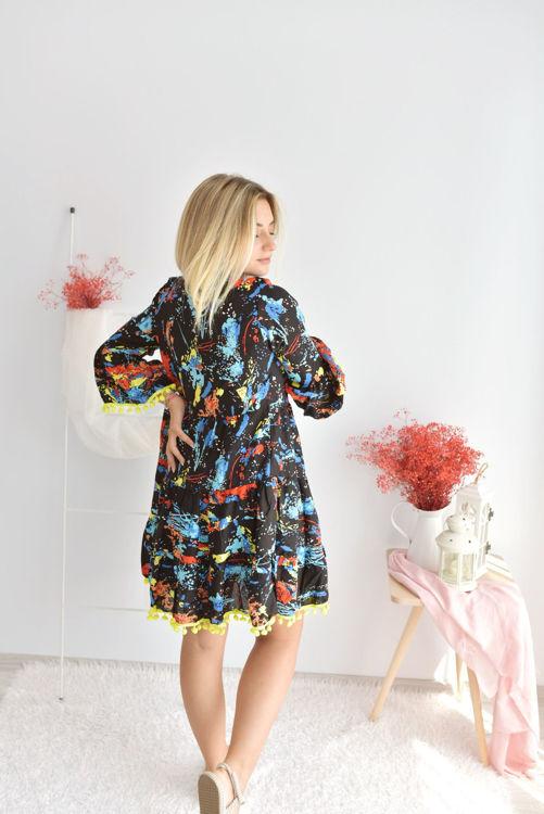 2053 Etek ve Kol Ucu Ponpon Detay Desenli Elbise resmi