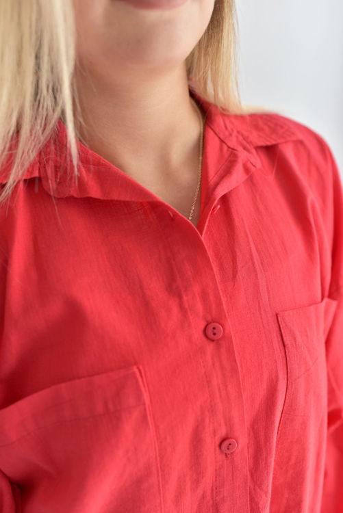 2395 Cep Detay Oversize Gömlek resmi