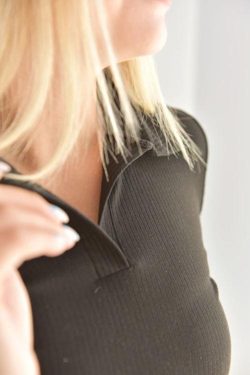 6643 Polo Yaka Uzun Kol Bluz resmi