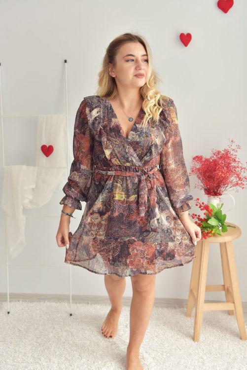 W0005945 Kruvaze Yaka Desenli Elbise resmi
