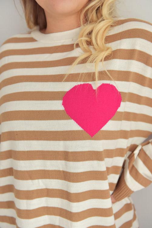 1439 Çizgili Kalp Detay Triko resmi