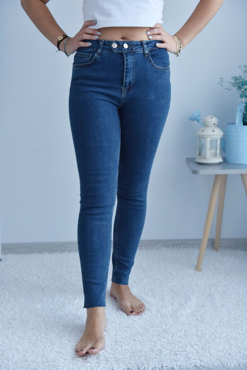 D-508 Yüksek Bel Çift Düğmeli Kot Pantolon resmi