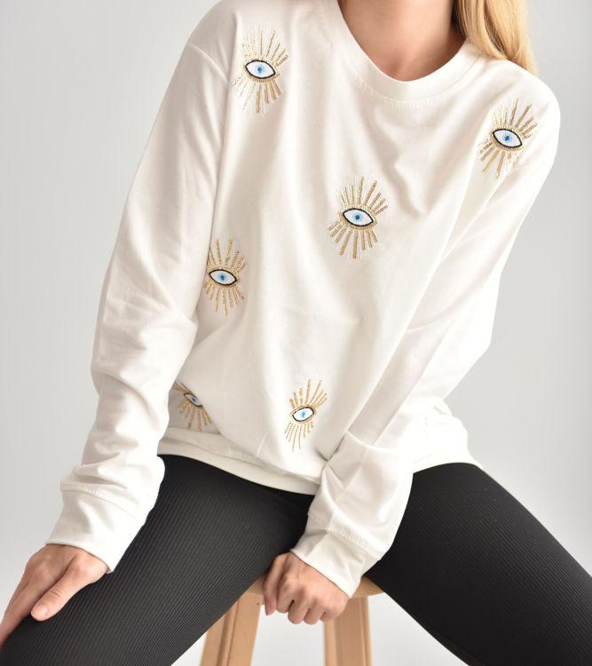 2021 Göz Baskılı Sweatshirt resmi